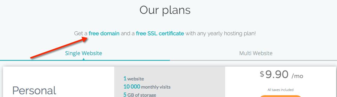 Un nom de domaine gratuit est inclus sur Themecloud sur l'offre annuelle