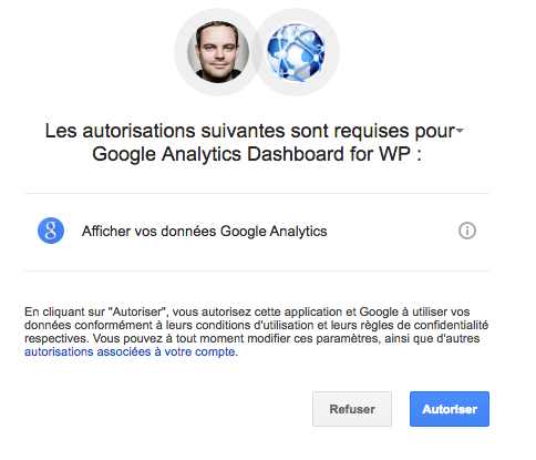 Autorisation du plugin sur Google