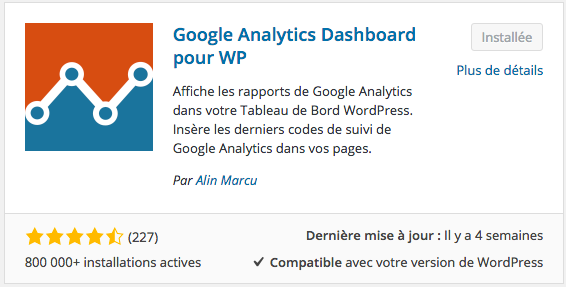 Google Analytics Dashboard pour WP