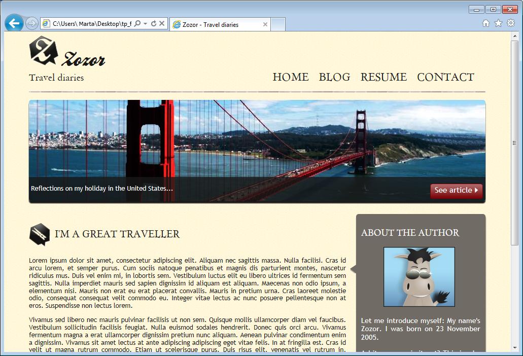 La página web en IE9: ¡ningún problema a la vista!