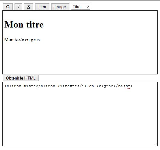 Affichareg du code HTML