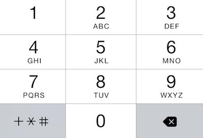 Clavier de saisie de numéro de téléphone sur un iPhone