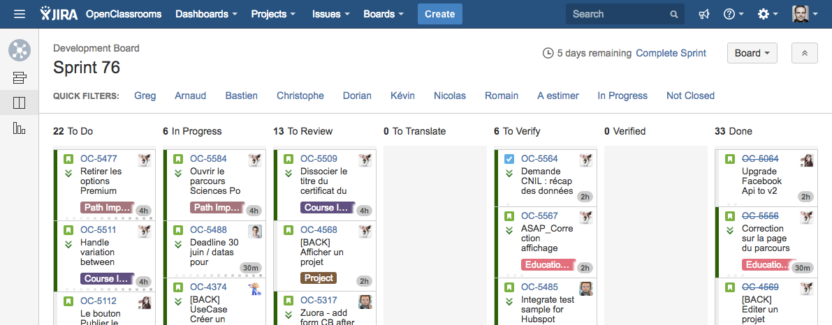 JIRA shows what has to be done, what is being done and what's already done!