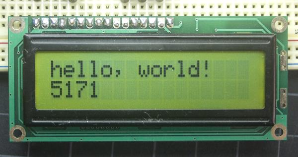 Afficheur LCD 16x2, affichage noir sur fond vert, non rétro-éclairé (www.arduino.cc)