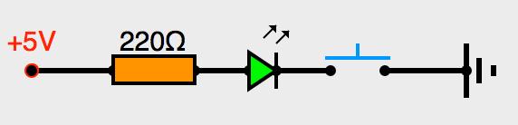 Circuit avec diode et bouton poussoir