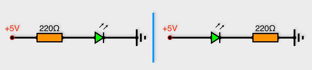 Branchement d'une LED en série avec une résistance (les deux montages sont corrects)
