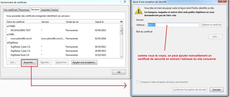 Liste des certificats sous Firefox