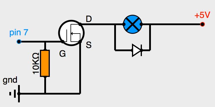 Pilotage moteur CC par transistor MOFSET canal N