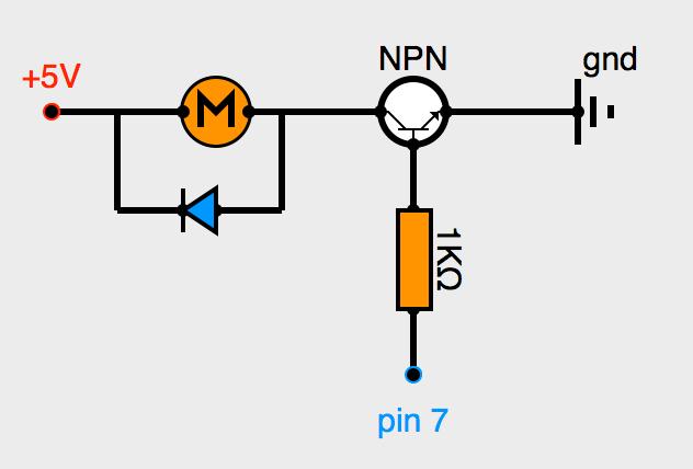 Moteur CC commandé par transistor NPN, avec diode roue libre
