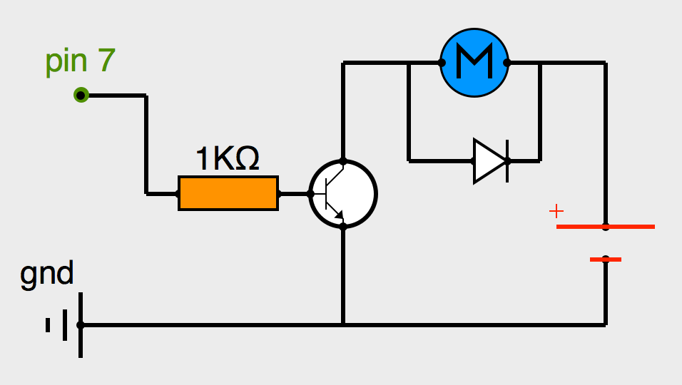 Schéma d'alimentation du moteur par batterie externe et pilotage par transistor NPN