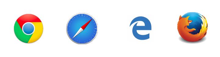 Les icônes des navigateurs web les plus répandus : chrome, safari, explorer et firefox