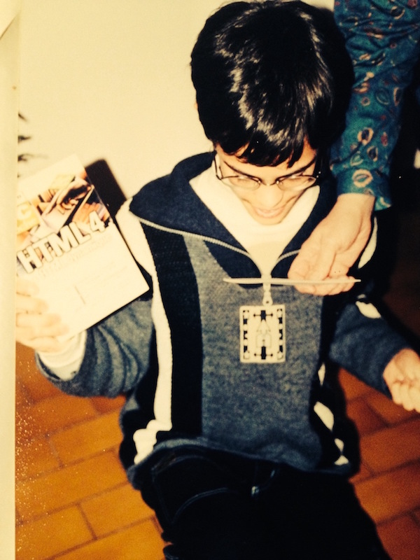 Mathieu receiving his first HTML book for Christmas (authentic pic!) - 1999