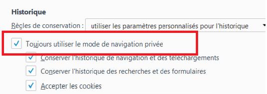 Toujours utiliser le mode de navigation privée