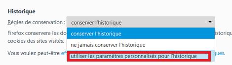 Utiliser des paramètres personnalisés pour l'historique