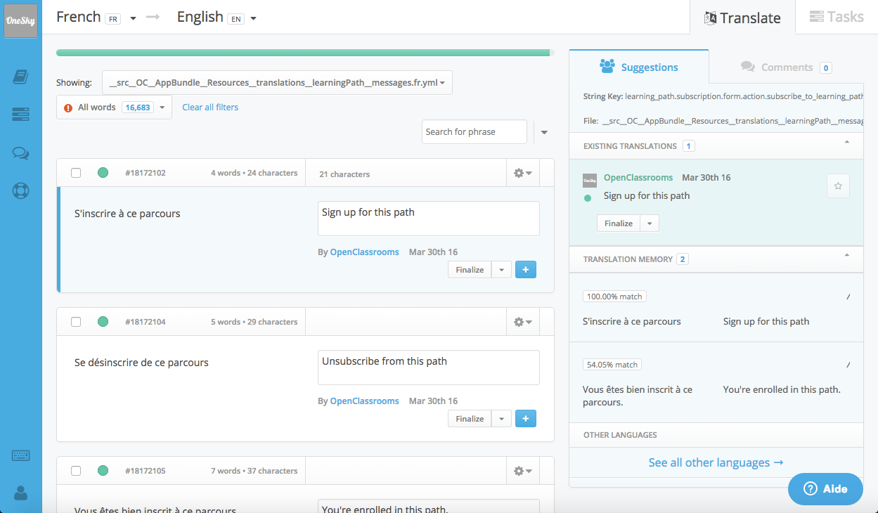 OneSky helps us to easily translate the website interface strings