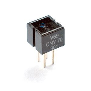 Le CNY70. Emetteur/récepteur infrarouge (http://5hertz.com)