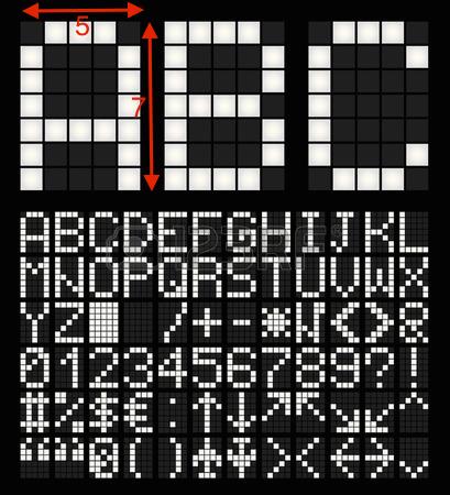 Caractères affichés sur une matrice de 7x5