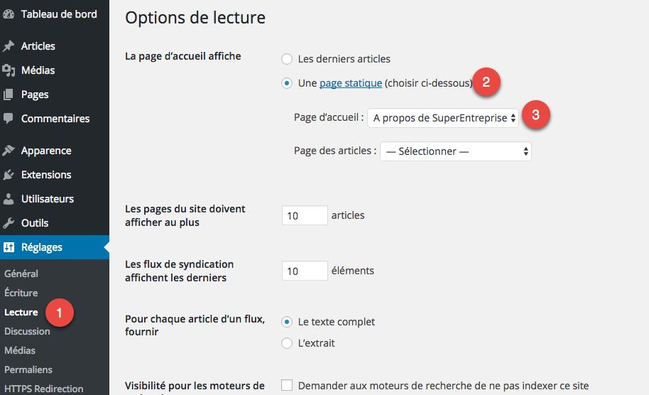 Configurer la page par défaut sur WordPress