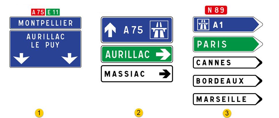 panneaux de direction code de la route 1 la circulation routi re l openclassrooms. Black Bedroom Furniture Sets. Home Design Ideas