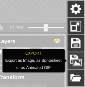 Exportez votre avatar depuis Piskel App