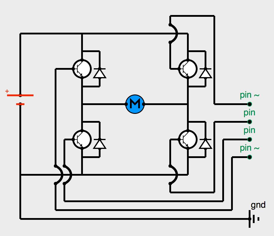 Pont en H avec transitors NPN, diodes et entrées Arduino