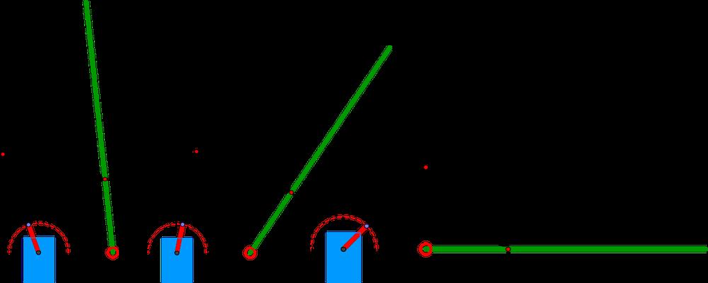 Différentes positions du plan en fonction de la position du servo-moteur (en bleu)