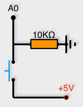 Connexion d'un bouton poussoir avec résistance pull-down sur pin analogique