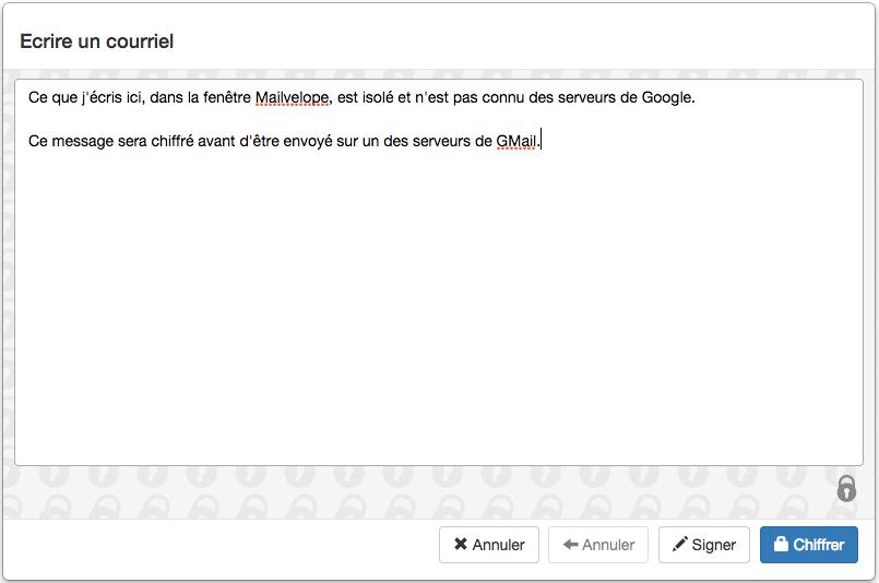 Rédaction du contenu depuis Mailvelope