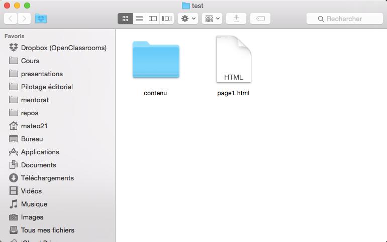 Le fichier page2.html se trouve à l'intérieur du dossier contenu