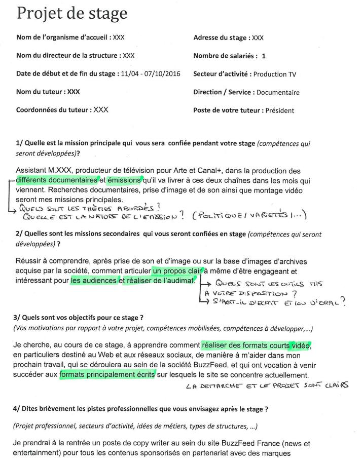 Exemple de questionnaire Projet de stage annoté