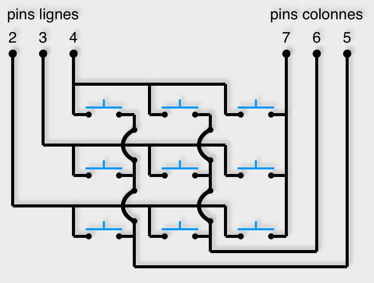 Matrice de boutons poussoir de 3x3