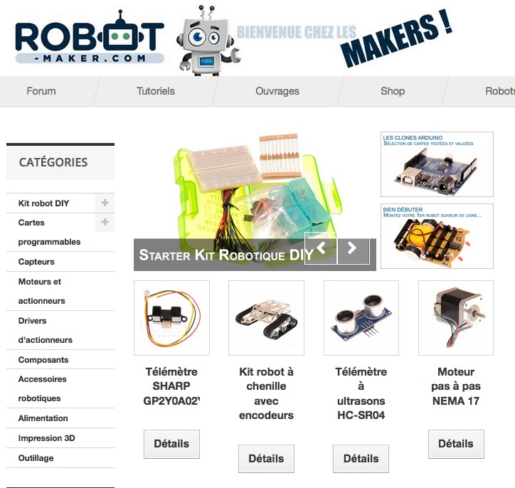 boutique robotique sur robot maker