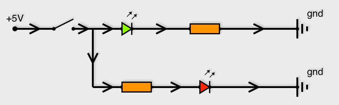 Exemple de circuit électrique avec une entrée +5V et des connections au ground