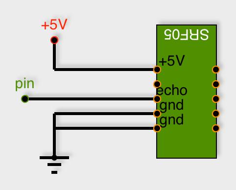 Connexion du SRF05 avec une patte pour envoi et réception (attention à l'orientation)