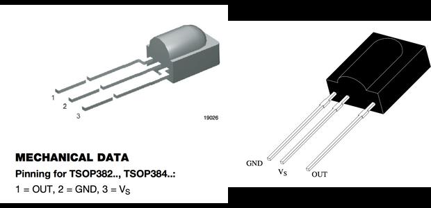 Broches pour TSOP38238 (gauche) et TSOP1737 (droite)