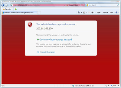 Alerte de sécurité type. Image tirée de Microsoft.com