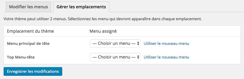 Sélection de l'emplacement du menu