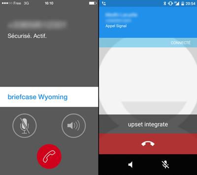 Appel avec Signal sous iOS (à gauche) et sous Android (à droite)