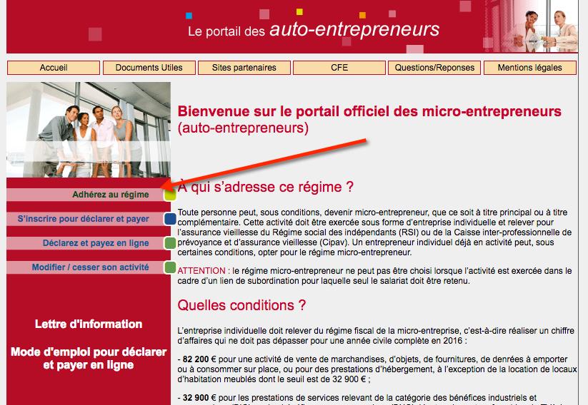 Page d'accueil du site officiel de l'auto-entrepreneur