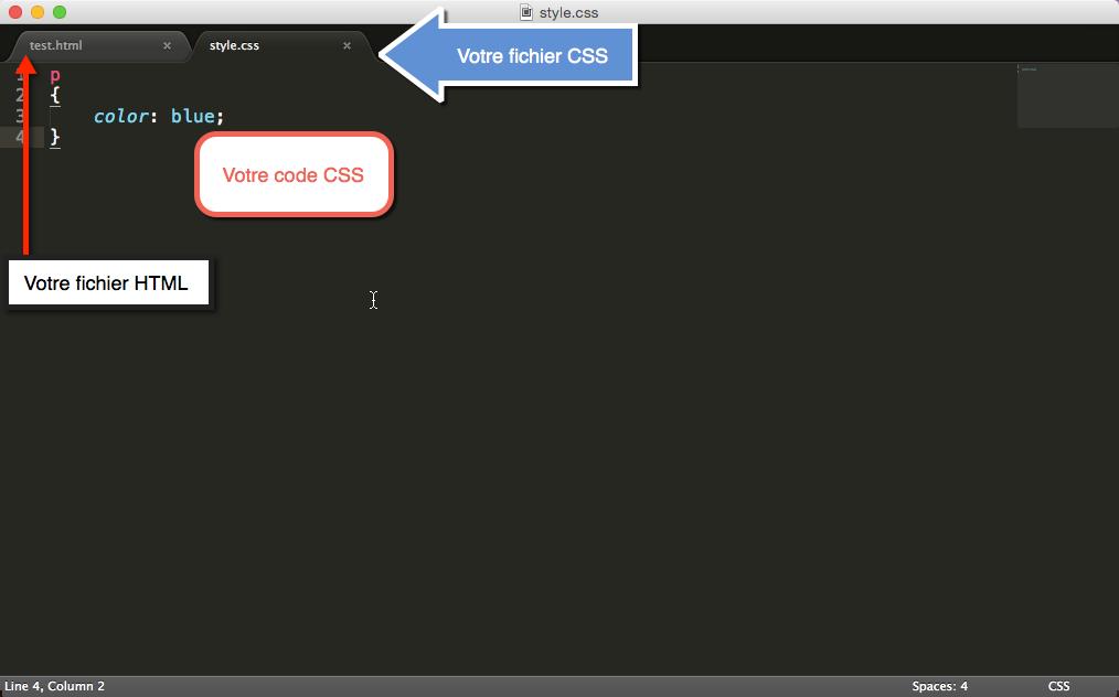 Fichiers HTML et CSS dans Sublime Text