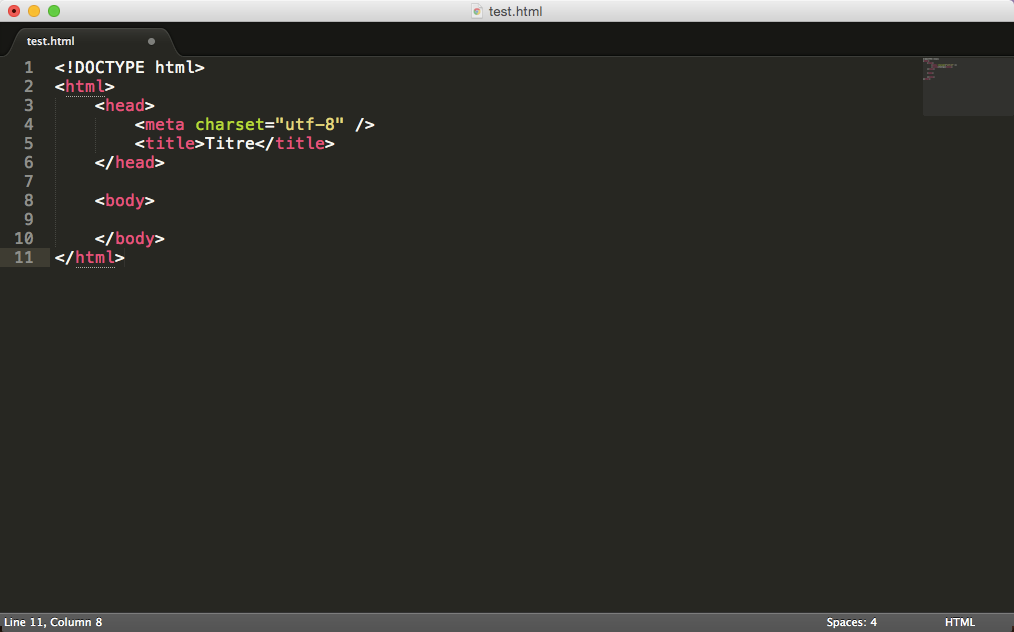 Code HTML5 minimal dans Sublime Text