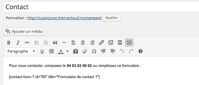 Intégration du formulaire de contact dans l'éditeur