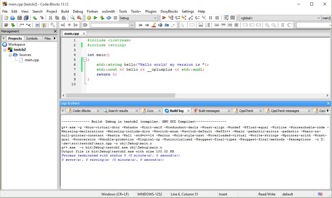 code blocks avec le compilateur mingw
