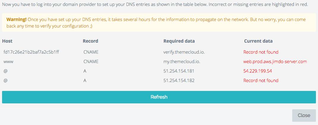Themecloud nous indique quelles informations ajouter dans la zone DNS