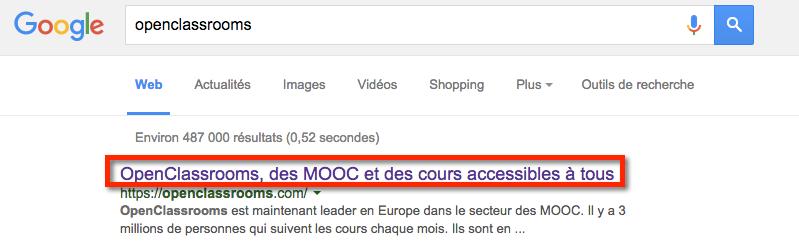 Le titre de la page apparaît dans les recherches Google
