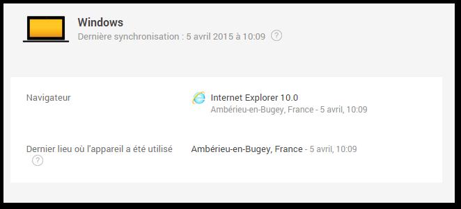 L'historique de connexion indique une connexion depuis Ambérieu-en-Bugey le 5 avril