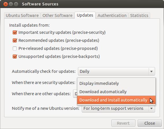Configuration automatique de mises à jour de sécurité