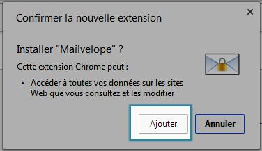 Validation de l'installation de Mailvelope pour Chrome