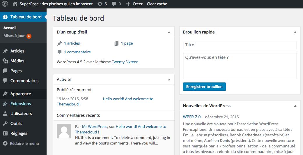 Page d'admin de WordPress