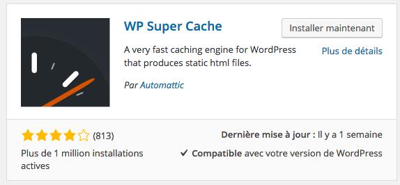 L'extension WP Super Cache